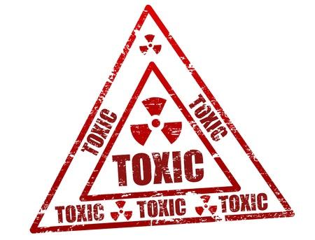symbole chimique: R�sum� cachet du bureau de grunge avec le toxique �crit autour du symbole timbre toxique Illustration