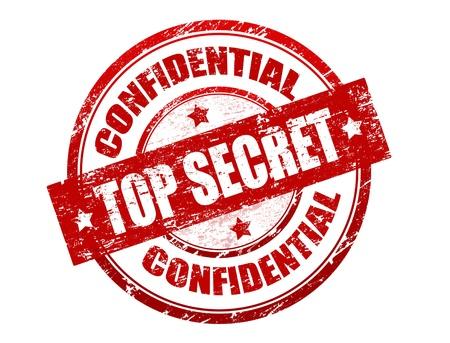 espionaje: Resumen grunge oficina de sello de goma con el m�ximo secreto el texto escrito en el centro del sello y de la palabra confidencial