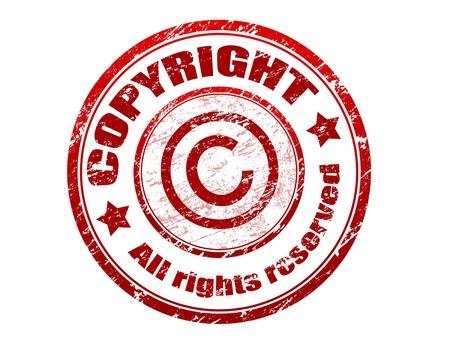 Timbre caoutchouc rouge grunge avec le droit d'auteur du texte tous droits réservés écrite à l'intérieur du timbre