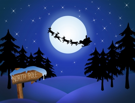 cartoon santa clause: Santas sleigh in front of the moon and wood sign with North Pole, Illustration