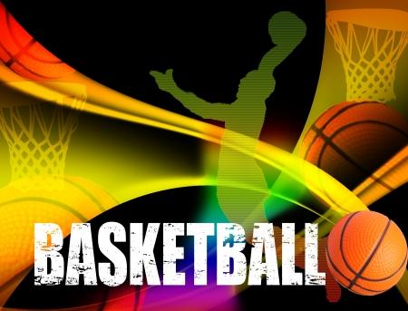 pelota de basquet: Baloncesto cartel publicitario. Vectores