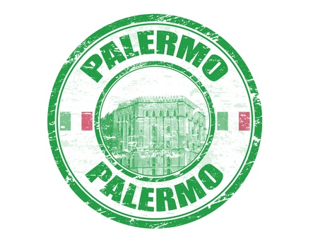 Grunge rubber stamp with the word Palermo written inside Vector