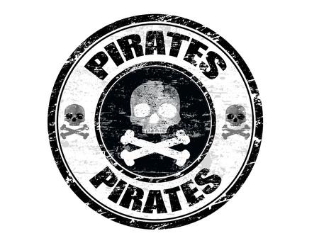 sello postal: Resumen negro oficina de grunge con sello de goma con la forma del cr�neo y los piratas de palabras escritas en el interior del sello Vectores