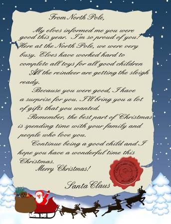 weihnachtsmann: Illustration eines Brief vom Weihnachtsmann