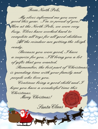 cartoon santa: illustration of a letter from Santa Claus