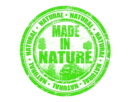 Green grunge rubber stamp with the text Made in Nature written inside, vector illustration