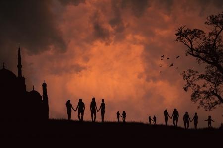 lovers on beautiful sunset Vector