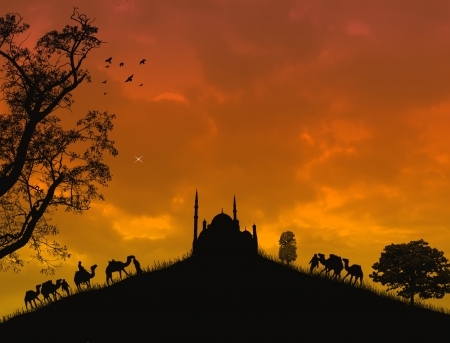 islamic scenery: mosque silhouette during sunset with bedouins and camels
