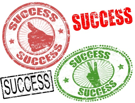 Set of grunge rubber stamps  with  the word success written inside, Vector