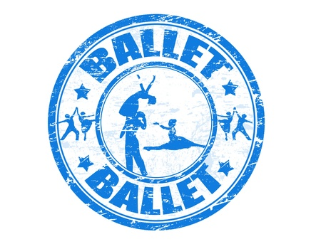 lyrical dance: Abstract grunge rubber stamp with ballet dancers shape and the word ballet written inside