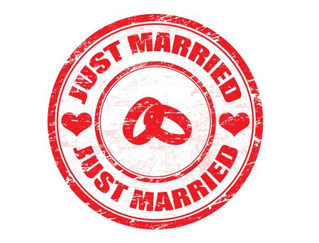 heats: JUST MARRIED Wedding grungy rubber stamp with two rings and heats