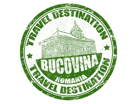 Grunge rubber stamp with the text travel destinations Bucovina inside, vector illustration Vector
