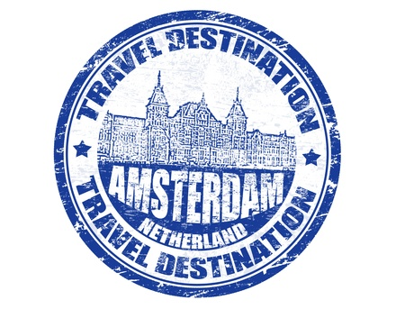 Grunge rubber stamp with the text travel destinations Amsterdam inside illustration Vector