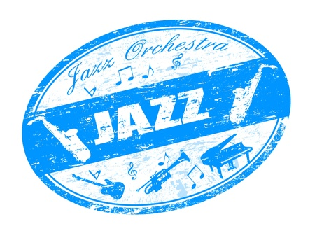 symphonic: Abstract grunge rubber stamp with saxophone, piano, bass, trumpet shape and the words jazz concert written inside the stamp