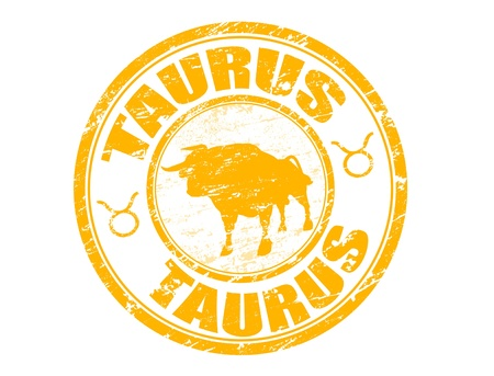 Yellow grunge rubber stamp with taurus shape and the taurus zodiac symbol Stock Vector - 14002831