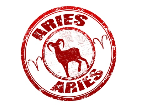 Red grunge rubber stamp with aries shape and the aries zodiac symbol