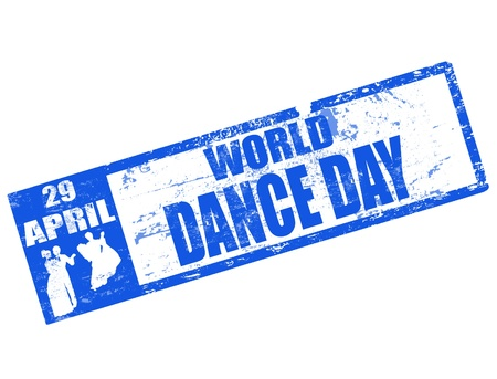 shilouette: Abstract blue grunge rubber stamp with text world dance day written inside the stamp and dancers