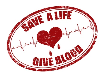 Red grunge stamp with heart, heartbeat and the text save a life give blood written inside the stamp