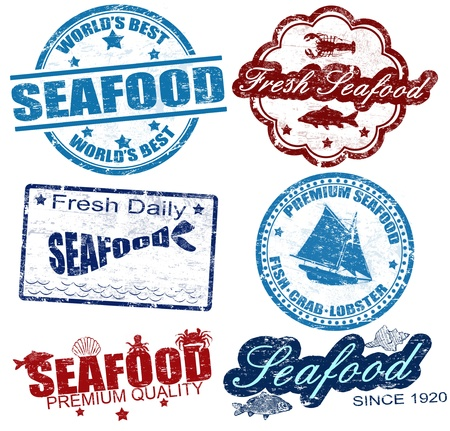 Set of grunge rubber stamps with the word seafood written inside, vector illustration