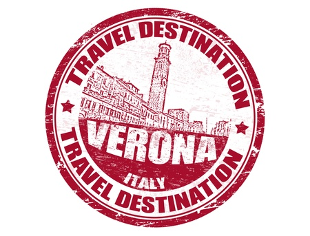 timbre voyage: Tampon en caoutchouc grunge avec des destinations de voyage à l'intérieur du texte Vérone Illustration