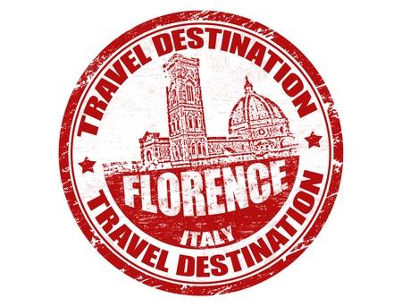 timbre voyage: Tampon en caoutchouc grunge avec des destinations de voyage Florence, dans le texte