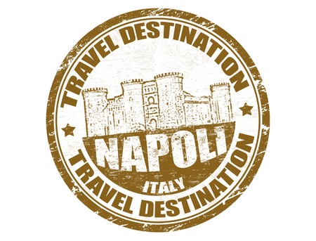 Grunge rubber stamp with the text travel destinations Napoli inside Vector