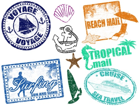 voyage: Juego de sellos de verano grunge Vectores