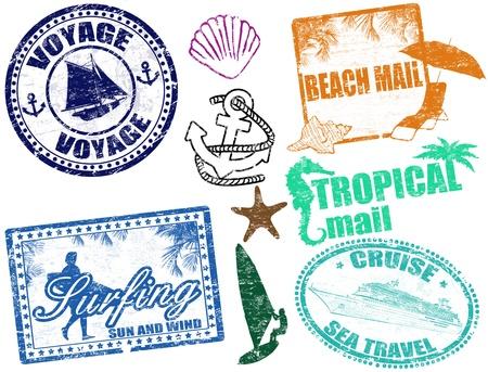 stempel reisepass: Set Grunge Sommer Briefmarken