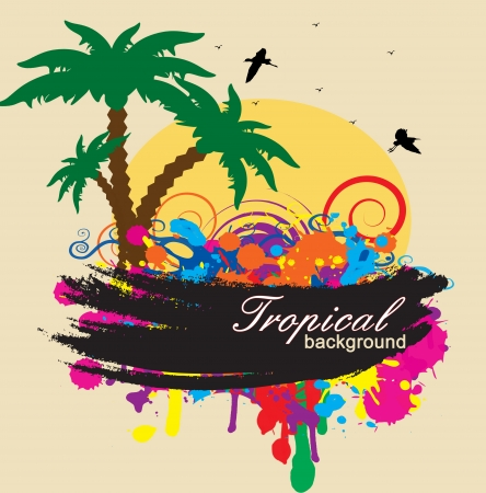 sea gull: Tropical background with circles and splash in rainbow colors