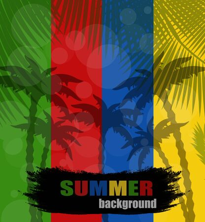 Summer background with palms silhouette Stock Vector - 14152302
