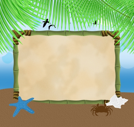 paradise beach: Beautiful seaside view with bamboo frame, sand and palm leaves