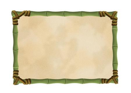 Marco de bambú con una lona aislado en blanco