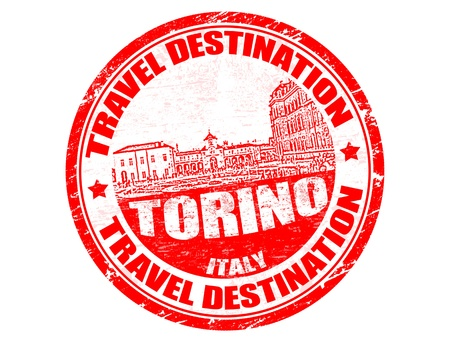 turin: Grunge rubber stamp with the text travel destinations Torino inside