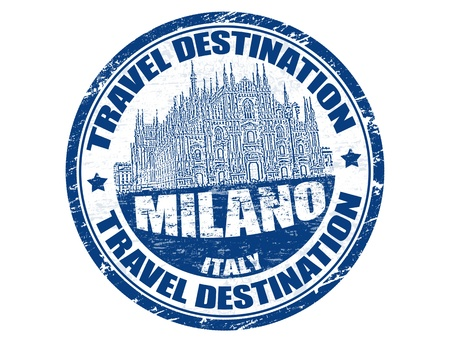 Grunge rubber stamp with the text travel destinations Milano inside Vector