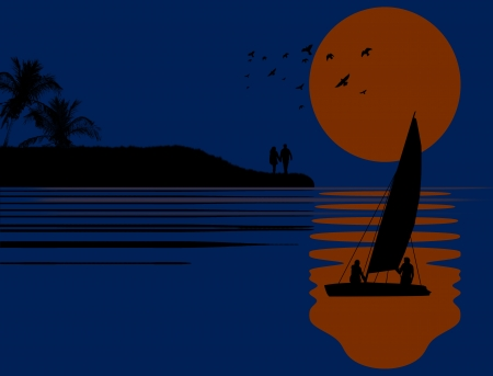 sea water: Sea sunset with boat and couple silhouettes