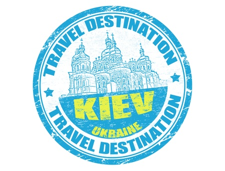 Grunge rubber stamp with the text travel destinations Kiev inside Stock Vector - 14155399