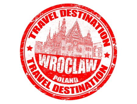 Grunge rubber stamp with the text travel destinations Wroclaw Vector