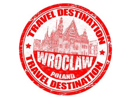 timbre voyage: Tampon en caoutchouc grunge avec le Wroclaw voyage destinations texte Illustration