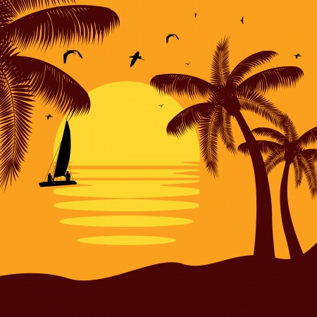 tropical palm island in sunset Vector
