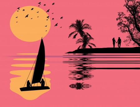 Beautiful pink tropical sunset background Vector