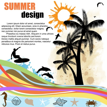 Grunge  summer design  background with palm trees,surfer and dolphins Stock Vector - 14152454