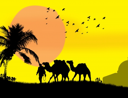 Camels in Sahara on yellow sunset background Vector