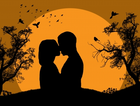 Couple kissing at sunset on the park background  Vector