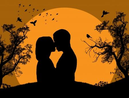siluetas de enamorados: Pareja besándose en la puesta de sol en el fondo del parque Vectores