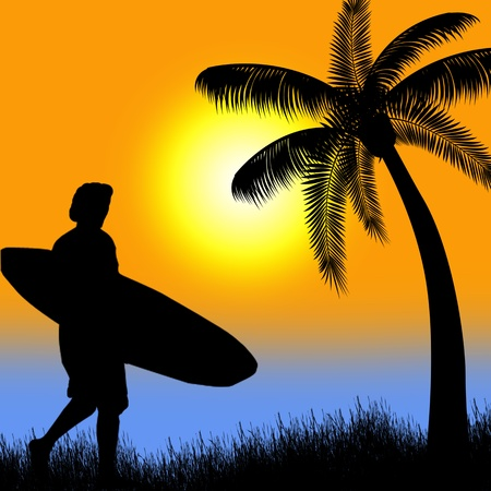 Surfer silhouette on tropical sunset  Vector