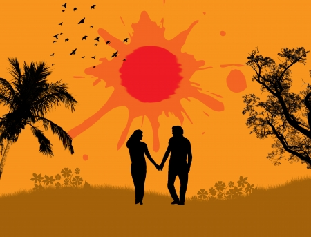 Lovers in a tropical landscape with palm,birds and sun  Vector