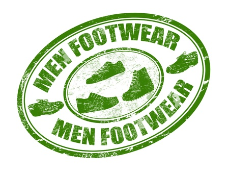 boot print: Green grunge rubber stamp with shoes shape and the text men footwear written inside the stamp Illustration