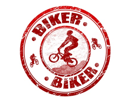 mtb: Red grunge rubber stamp with biker silhouette and the text biker written inside the stamp Illustration