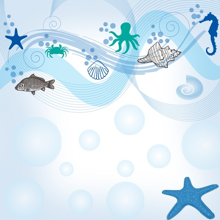 Sea background with marine fauna background, vector illustration Vector