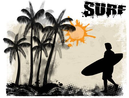 Surf grunge poster background with surfer and palms, vector illustration Vector